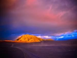 Iceland landmannalaugar, západ